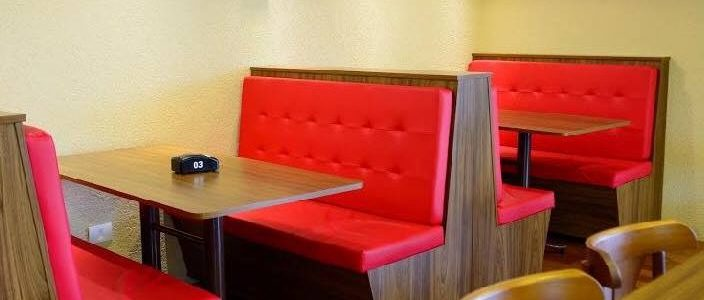 Sofá booth estofado para restaurantes e lanchonetes